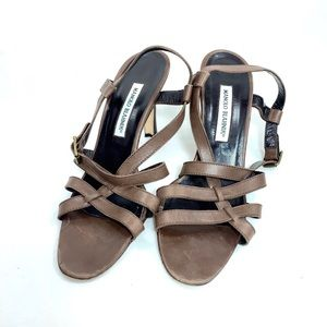 Manolo Blahnik brown strappy sandals